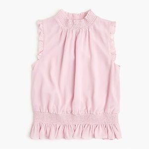 J. Crew Sleeveless Mockneck Smocked Top Pink sz 4